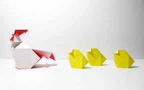 Picture paper, origami, chickens