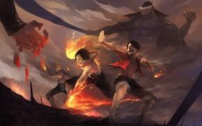 Picture fire, art, battle, one piece
