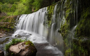 Wallpaper greens, stones, waterfall, moss, UK, the bushes, Sgwd Clun-Gwyn Waterfall