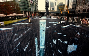 Picture jump, figure, London, deviantart, jamielawrence, 3D chalk