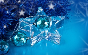 Picture the rain, balls, blue, toys, star, transparent, sequins, New Year, Christmas, decoration, the scenery, tinsel, ...