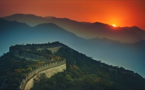 Picture night, wallpapers, china, great wall