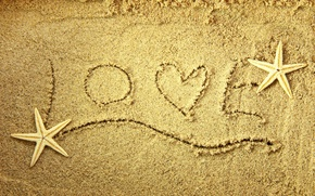 Wallpaper heart, love, words, star, love, sand