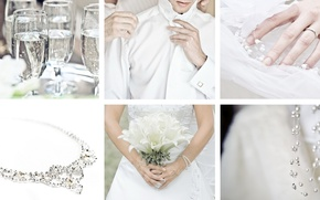 Picture white, holiday, collage, glasses, decoration, the bride, wedding, the groom