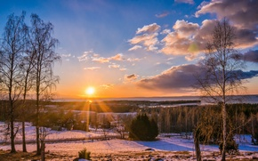 Picture winter, road, forest, the sun, trees, sunset, the village