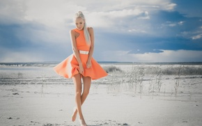 Picture sand, girl, shore, dress, legs, True Paceva