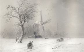 Picture winter, road, people, picture, mill, sleigh, Blizzard, Aivazovsky