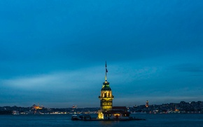 Picture sea, landscape, tower, Cathedral, twilight, Istanbul. Turkey