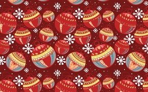 Picture balls, snowflakes, red, holiday, color, new year, decoration, texture