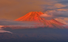 Picture the sky, clouds, sunset, Japan, mount Fuji