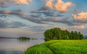 Wallpaper clouds, river, grass, the sky, summer, greens, the evening, path, island, shore, trees