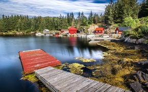 Wallpaper houses, trees, shore, boats, lake, forest, pier, Norway, Hordaland, stones
