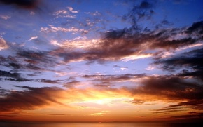 Wallpaper color, the sun, the sky, clouds, sunset