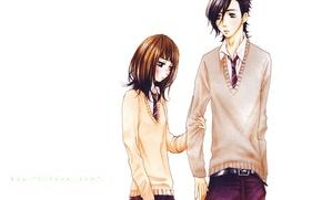 Picture tie, white background, blush, students, embarrassment, Say i love you, Yamato Kurosawa, Mei Tachibana, Say …