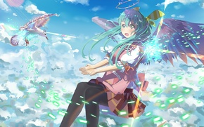 Wallpaper hatsune miku, wings, art, halo, anime, girl, bird, the sky, vocaloid, clouds