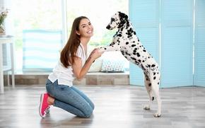 Picture girl, mood, dog, Dalmatian, dog, dalmatian