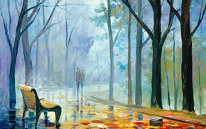 Picture autumn, leaves, girl, trees, people, shop, pair, guy, painting, Leonid Afremov
