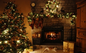 Wallpaper decoration, tree, house, holiday, fireplace