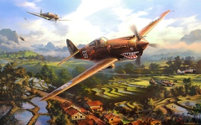 Picture artwork, aviation, ww2, painting, a6m zero, p-40 tomahawk, flying tygers, art, drawing, war