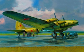 Picture the sky, clouds, figure, art, the airfield, military, the crew, four-engine, Soviet, PE-8, WWII, the …