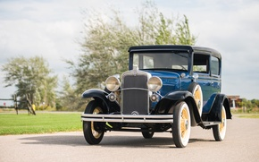 Picture Blue, Chevrolet, Retro, Car, 1931, Coach, Metallic, Independence, (AE-9)
