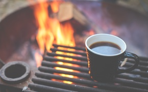 Picture fire, coffee, the fire, Cup, fire, grill, cup, coffee, flames, mug, outdoors, grill, camping, bonfire