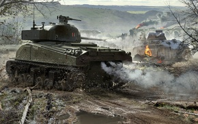 Picture WoT, Sherman, Panther, World of Tanks, World Of Tanks, Wargaming Net, Medium Tanks, Sherman Firefly