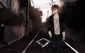 Wallpaper street, mood, the city, anime, guy