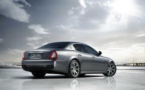Picture Maserati, Quattroporte, The sun, The sky, Reflection, Machine, Silver
