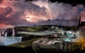 Wallpaper clouds, lightning, art, average, shore, French, World of Tanks, the storm, sea, AMX 30B, tank, ...