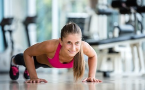 Picture woman, fitness, pushups, workout