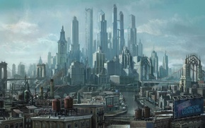 Picture the city, future, skyscrapers, art, megapolis, Saints Row the Third