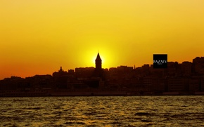 Picture river, Sunset, The evening, The city, Istanbul, Turkey, The Bosphorus
