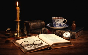 Picture still life, books, tea, candle, watch, Cup, glasses