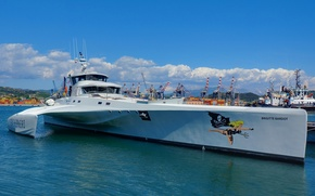 Picture yacht, harbour, catamaran, BRIGITTE BARDOT