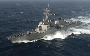 Wallpaper sea, wave, NATO, destroyer