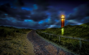 Picture road, night, lighthouse