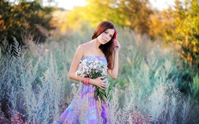 Picture NATURE, DRESS, FLOWERS, BROWN hair, TREES, SHRUBS, BOUQUET