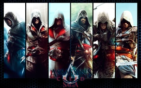 Picture the inscription, collage, the game, characters, Assassin's Creed