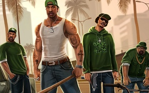 Picture gang, crime, gta, San Andreas, Grand theft auto, CJ