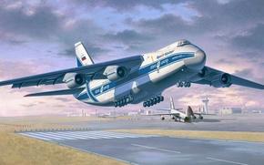 Picture figure, art, Ruslan, Condor, An-124-100, long range heavy transport aircraft, Volga-Dnepr, OKB. O. K. Antonov