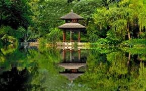 Picture lake, pond, Park, reflection, China, China, gazebo