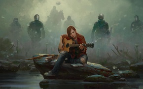 Picture fog, stone, horse, figure, guitar, sneakers, Girl, jeans, bow, Ellie, shield, mask, arrows, Brands Sudak, ...