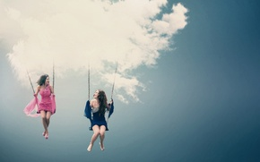 Wallpaper The SKY, CLOUDS, DRESS, GIRLS, JOY, LAUGHTER, CHAIN, FUN, SWING