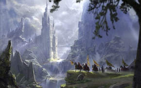 Picture trees, landscape, waterfall, art, flags, fantasy, fantasy, knights