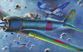 Picture war, art, painting, aviation, ww2, Mitsubishi A6M5 Zero Fighter, japanese navy