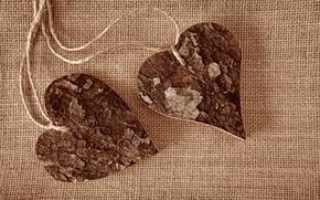 Wallpaper tree, heart, rope, hearts, fabric, bark