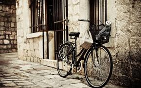 Picture bike, the city, background, Wallpaper, street, basket, mood, wheel, bricks, basket, widescreen, full screen, HD …