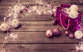Picture winter, balls, balls, toys, New Year, package, Christmas, pink, white, garland, holidays, Christmas