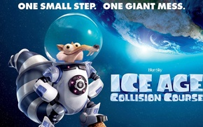Picture space, star, Earth, cartoon, movie, planet, film, squirrel, astronaut, space suit, Scrat, Ice age collision …